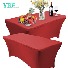 Oblong Fitted Spandex Table Cover Red 8ft Pure Polyester Wrinkle Free for Folding Tables