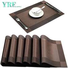 Hotel Rectangular Woven Non-fading Washable Brown Placemats