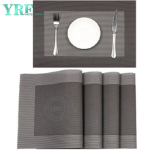 Hotel Rectangular Hardboard Washable Resistant Anti-Skid Silver Grey White Placemats
