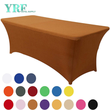 "Oblong Stretch Spandex Table Cover Light Coffee 8ft/96""L x 30""W x 30""H Polyester For Folding Tables"