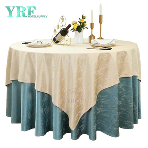 "YRF Round Tablecloth 132"" Inch Sky Blue Polyester Washable Wrinkle Free For Party"
