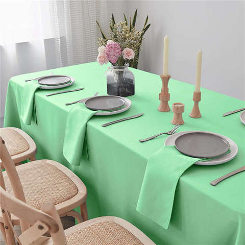 Rectangle Tablecloth Light Green 90x132 inch Pure 100% Polyester Wrinkle Free for Parties
