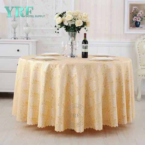 "YRF Tablecloth 90"" Round Light Yellow Cheap 5 Star Hotel"