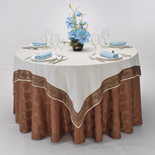 YRF Wholesale Banquet Round Table Cloth Champagne Jacquard