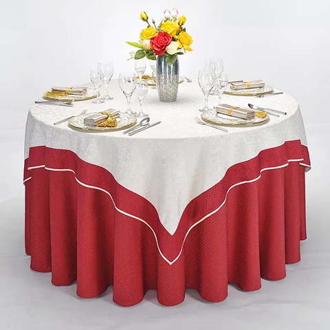 YRF China Factory Apartment Round Table Cloth Red Yarn Dyed