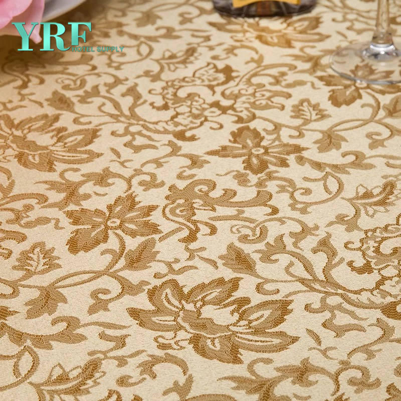 "YRF Round Table Cloths 90"" Inch Brown Polyester Washable Wrinkle Free For Restaurant"