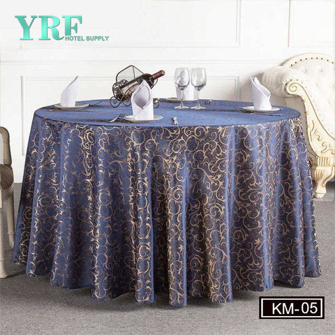 YRF Luxury Hotel Jacquard Navy Blue Table 100% Polyester Golden Party