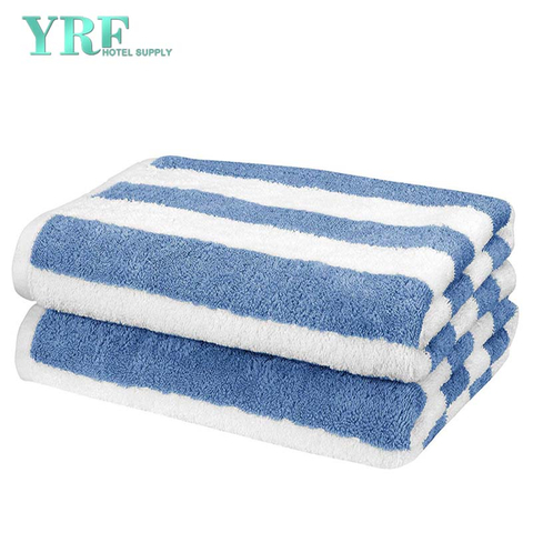 Hotel Supply Stripe Sky Blue Long 100% Egyptian Cotton Large Pool Towel