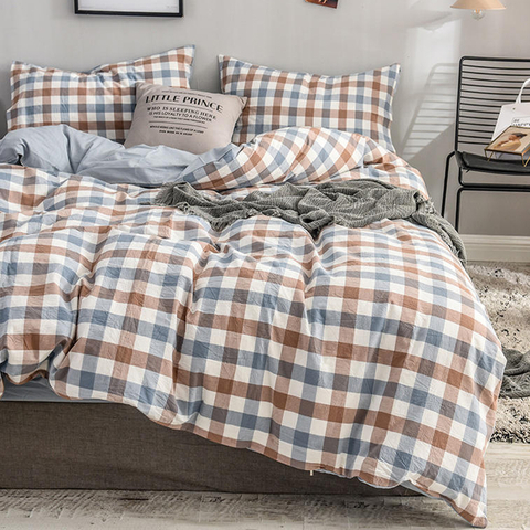 High Quality Home Decoration Breathable Plaid Cotton Fabric Bedding Set