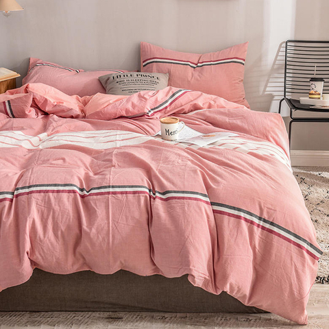 Apartment Color matching Pink Gingham Cotton Fabric Bed Sheet
