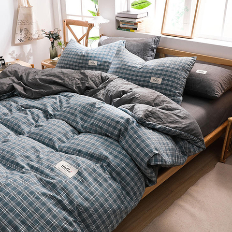 New Product Apartment Comfortable Plaid Cotton Fabric Bed Sheets