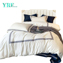 Apartment Modern Style Embroidered Hotel Bedding Cotton White For Double Bed
