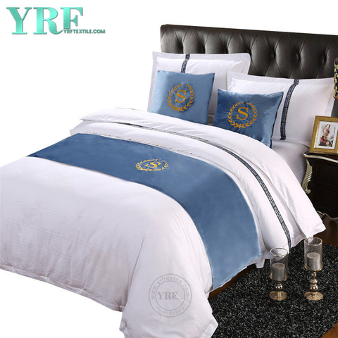 Five-Star Hotel Double Room Flannelette With Logo Dark Turquoise Bed Flags