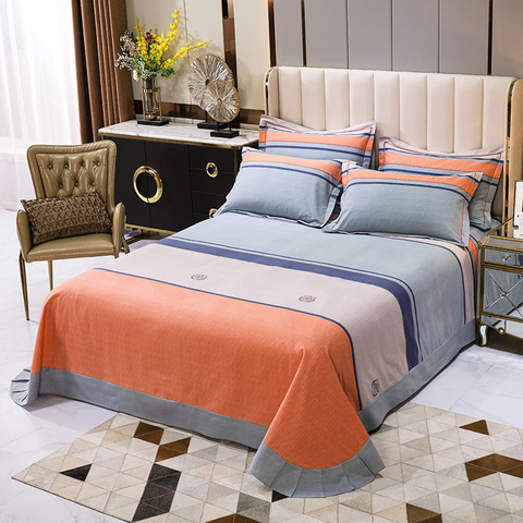 Hot Sale Sheet Set Best Quality Hypoallergenic Fade Orange Striped